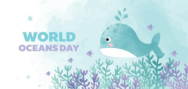 Banner de dia mundial dos oceanos com baleia bonita no estilo de cor de água.