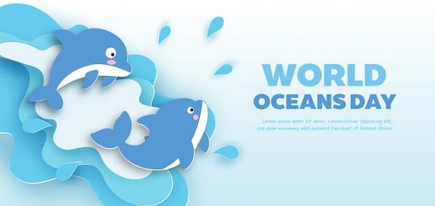 Banner de dia mundial dos oceanos com golfinho bonitinho no estilo de corte de papel.