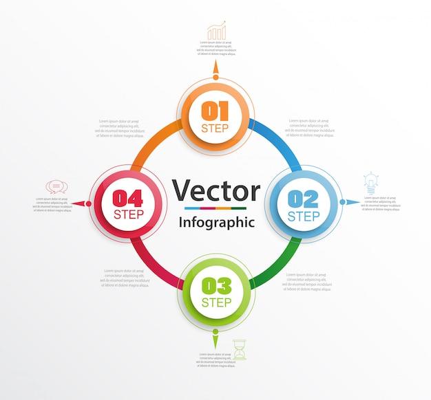 Banner de diagrama de círculo infográfico com etapas, peças, opções