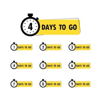 Banner de dias restantes de contagem regressiva ou venda de tempo de contagem