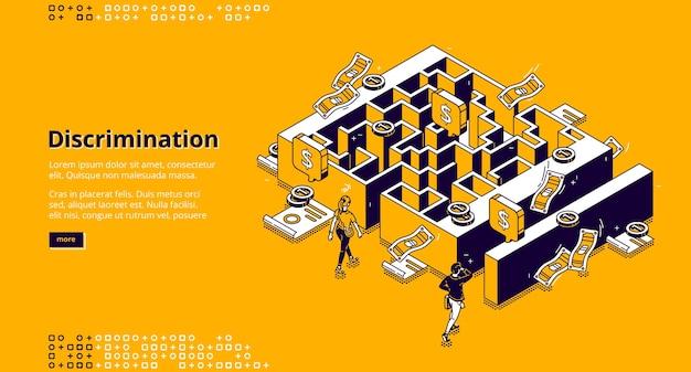 Banner de discriminação. conceito de desigualdade de gênero nos negócios, diferença salarial e oportunidades de carreira profissional. ilustração isométrica de labirinto, dinheiro, mulher e homem