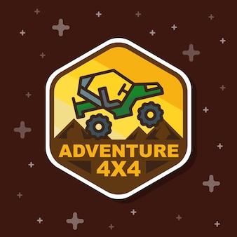 Banner de distintivo de aventura fora de estrada 3x3