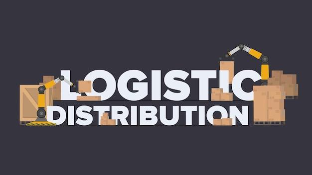 Banner de distribuição logística. letras sobre um tema industrial. caixas de papelão. conceito de frete e entrega. vetor.