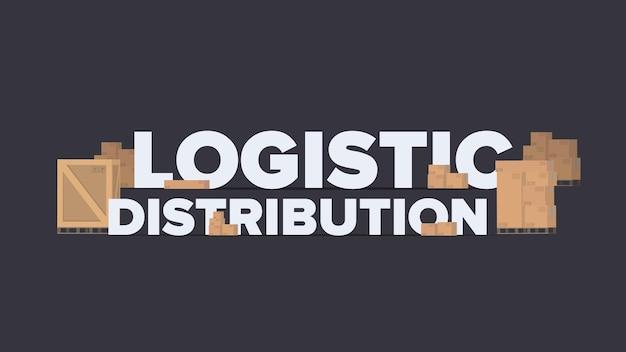 Banner de distribuição logística. letras sobre um tema industrial.