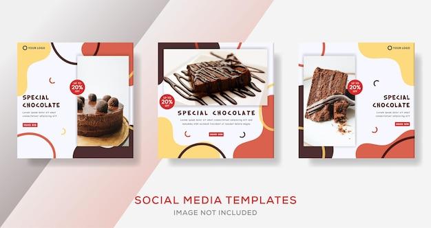 Banner de doces de chocolate para publicação de modelo de loja de bolos de negócios
