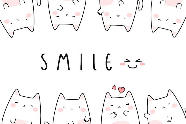 Banner de doodle de gatinho fofo gato branco dos desenhos animados