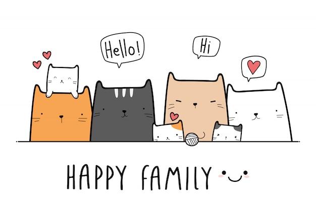 Banner de doodle de gato fofo gatinho família dos desenhos animados