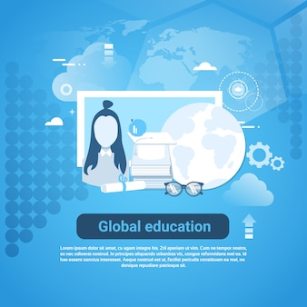 Banner de educação global web com cópia espaço no fundo azul