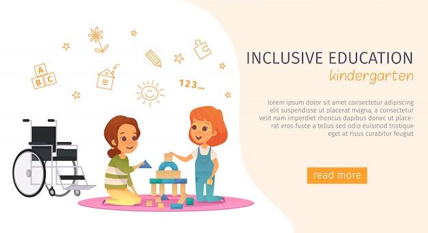 Banner de educação inclusiva de inclusão colorida com descrição do jardim de infância e botão leia mais