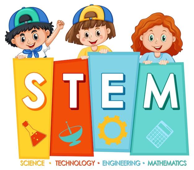 Banner de educação stem com personagem de desenho animado infantil