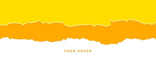 Banner de efeito de papel rasgado laranja e amarelo