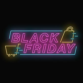 Banner de efeito neon preto sexta-feira