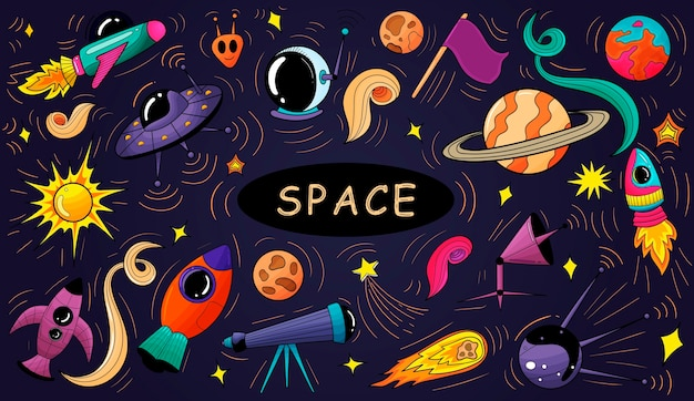 Banner de elementos de espaço de doodles