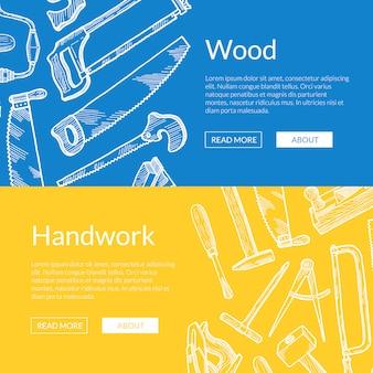 Banner de elementos de madeira desenhada de mão