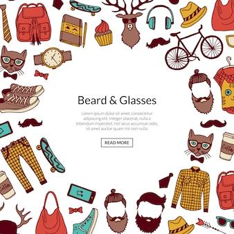 Banner de elementos hipster