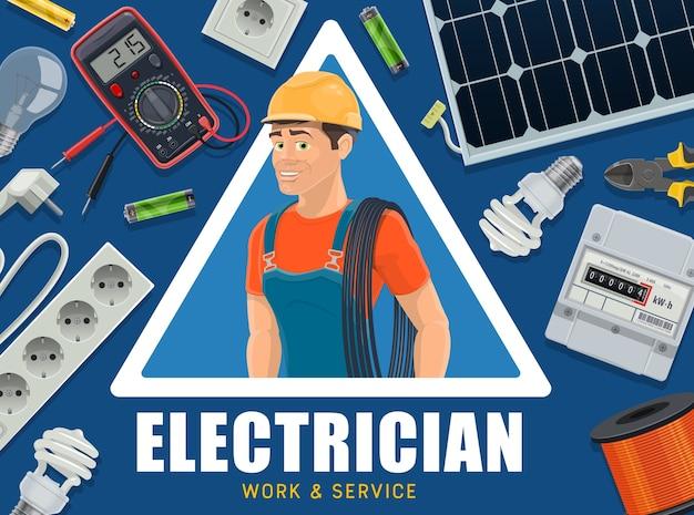 Banner de eletricista e equipamento de fornecimento de energia.