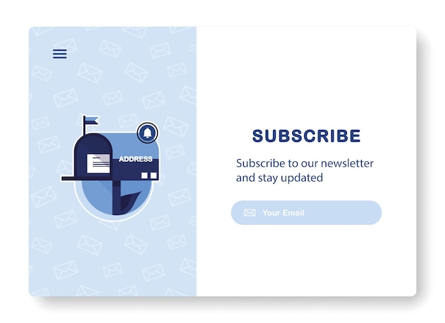 Banner de email marketing com caixa de correio e envelope para assinatura de newsletter, ofertas. azul