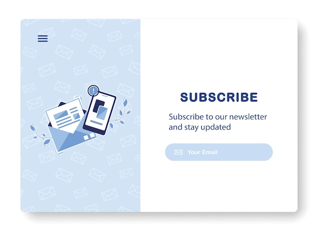 Banner de email marketing com envelope aberto com carta e telefone para assinatura de newsletter, ofertas. azul
