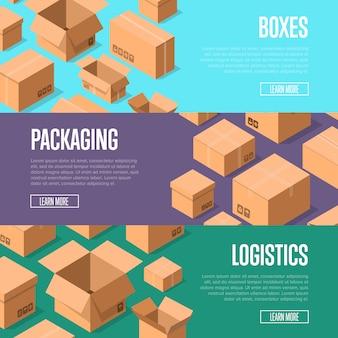 Banner de embalagem e logística de entrega