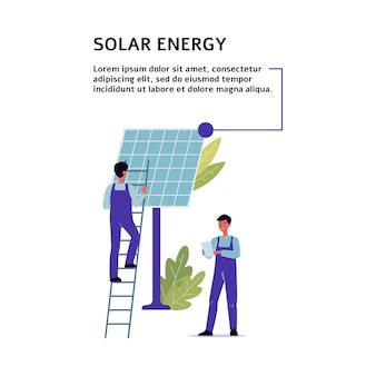 Banner de energia solar com pessoas, personagens de engenheiros e grande bateria solar ou painel celular, ilustração plana em branco