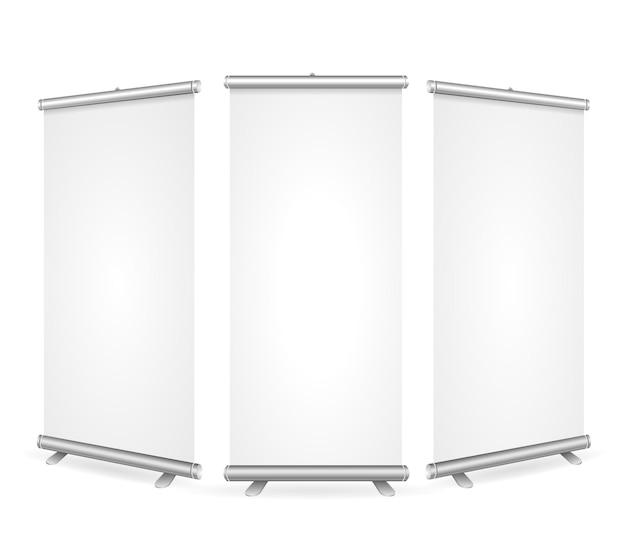 Banner de enrolar em branco 3 exibir modelo de exibição.