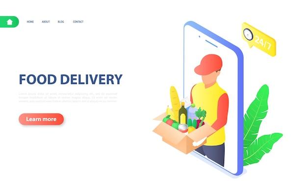 Banner de entrega de alimentos pedido de produtos por meio de aplicativo móvel e entrega por correio