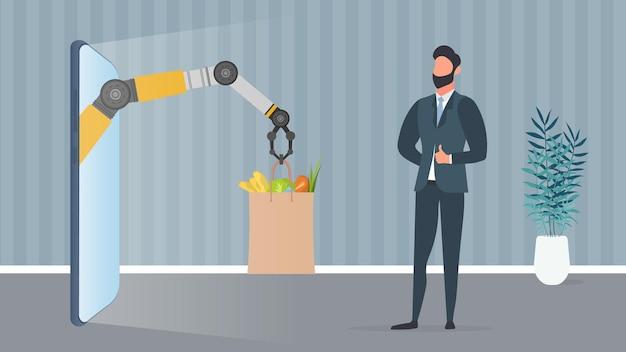 Banner de entrega de comida. a mão robótica segura um saco de papel com produtos. um homem recebe seu pedido online. conceito de entrega de compras. vetor.