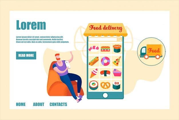 Banner de entrega de comida, homem usar aplicativo móvel para encomendar