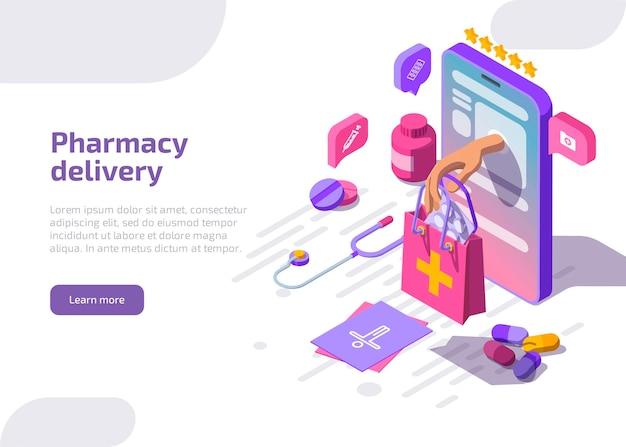Banner de entrega de farmácia. serviço de farmácia online.
