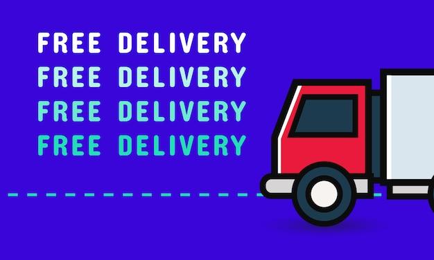 Banner de entrega gratuita com caminhão