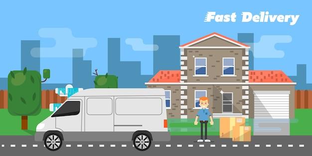 Banner de entrega rápida. veículo comercial.