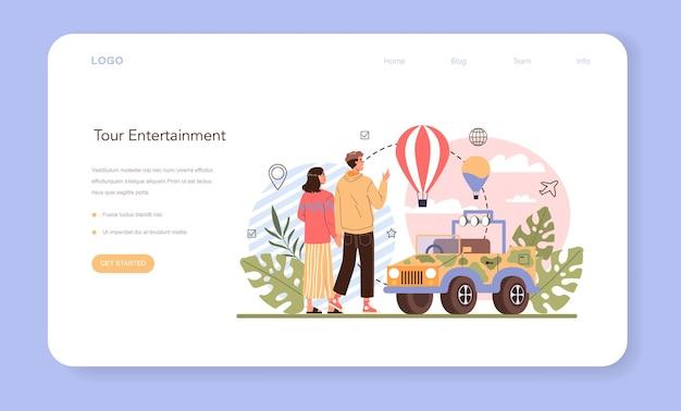 Banner de entretenimento da web de turismo ou ideia de página de destino de turismo