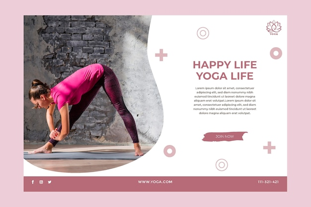 Banner de equilíbrio corporal de ioga