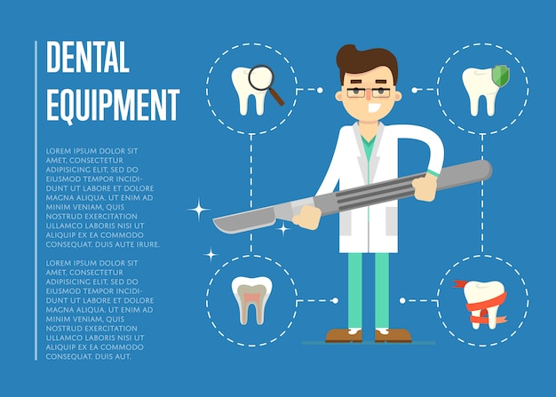 Banner de equipamento dental com dentista masculino