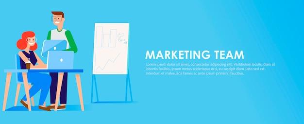 Banner de equipe de marketing