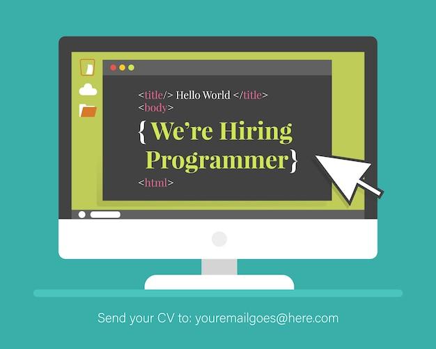 Banner de equipe e recrutamento para programador