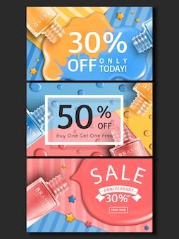 Banner de esmalte de unha com frascos de esmalte de unha, para uso em anúncios no site