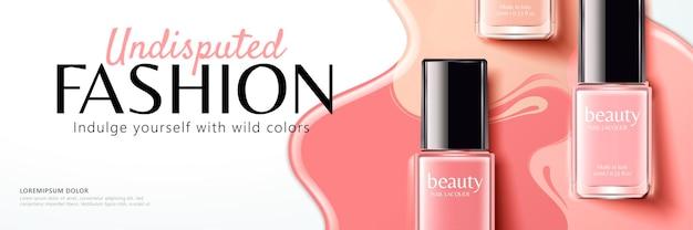 Banner de esmalte rosa, perspectiva plana