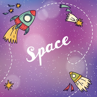 Banner de espaço com planetas, foguetes, astronauta e estrelas. fundo infantil. mão de ilustração vetorial desenhada
