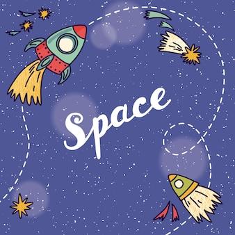 Banner de espaço com planetas, foguetes, astronauta e estrelas. fundo infantil. mão ilustrações desenhadas.