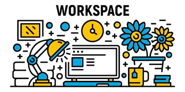 Banner de espaço de trabalho freelancer, estilo de estrutura de tópicos
