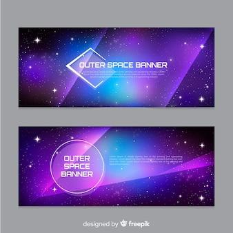 Banner de espaço exterior realista
