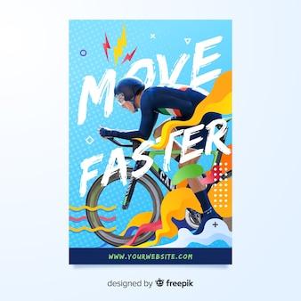 Banner de esporte com design plano de foto