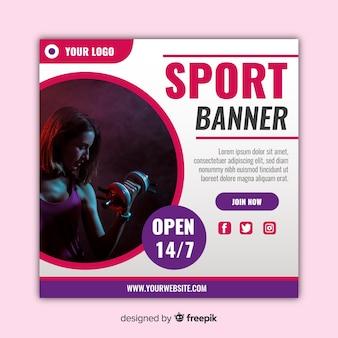 Banner de esporte moderno com foto