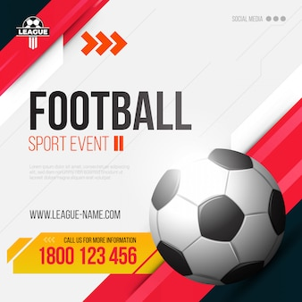 Banner de esportes modernos com tema vermelho