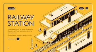 Banner de estação ferroviária web com trem expresso de alta velocidade parando