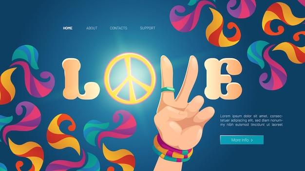 Banner de estilo cartoon de amor com mão hippie para mostrar gesto de paz em colorido psicodélico ornamentado