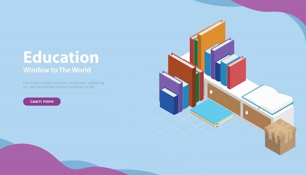 Banner de estilo de educação de livro com modelos isométricos