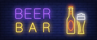Banner de estilo de néon de bar de cerveja