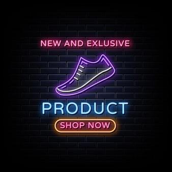 Banner de estilo néon para produtos de calçados
